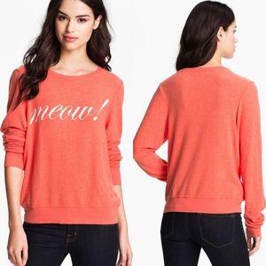 Wildfox Coral Meow Cat Lightweight Sweatshirt